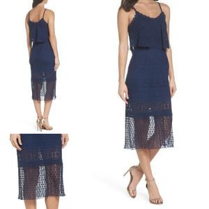 Foxiedox Ellie lace midi dress navy blue Small NEW